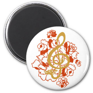 Dragon Treble Clef Peonies Music Custom Magnet