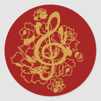 Dragon Treble Clef  Peonies Music Design Sticker