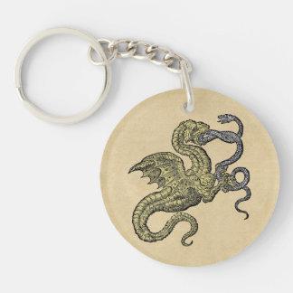 Dragon vs Snake Double-Sided Round Acrylic Keychain