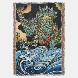 Dragon & Water Spirit Kuniyoshi Japanese Fine Art Throw Blanket