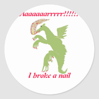 Dragon with a broken nail classic round sticker