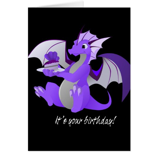 Dragon with Cake Birthday Card