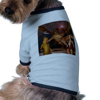 Dragon with elfes ringer dog shirt