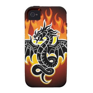 Dragon with flames in background vibe iPhone 4 cover