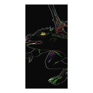 Dragon with glowing edges personalised photo card