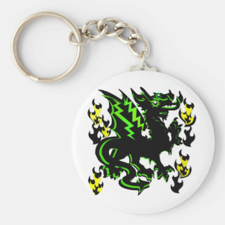 DRAGON WITH GREEN LIGHTNING AND FLAMES GRAPHIC BASIC ROUND BUTTON KEY RING