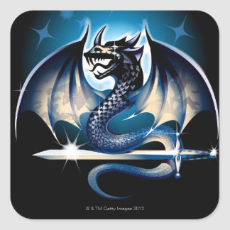 Dragon with sword square sticker
