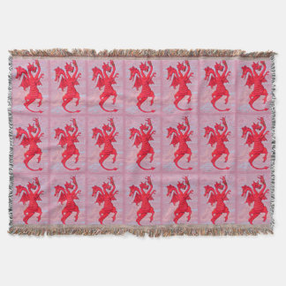 Dragon with Three heads Throw Blanket