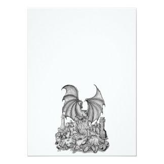 Dragon with Zombie 14 Cm X 19 Cm Invitation Card