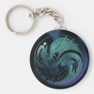 Dragon Yin Yang Basic Round Button Key Ring