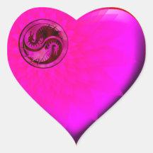 Dragon Yin Yang Heart Stickers
