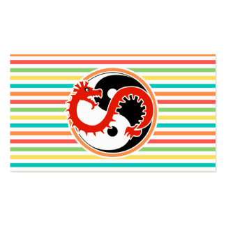 Dragon Yin Yang on Bright Rainbow Stripes Double-Sided Standard Business Cards (Pack Of 100)