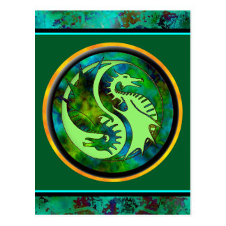 Dragon Yin Yang Postcard