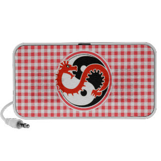 Dragon Yin Yang; Red and White Gingham Travel Speakers