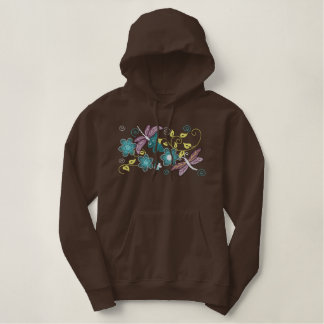 Dragonflies and flowers embroidered women's hoodie
