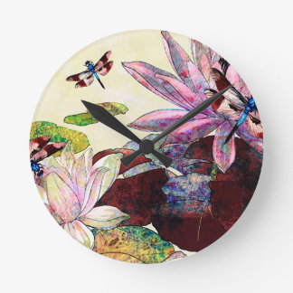 DRAGONFLIES AND LOTUS.jpg Round Clock