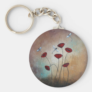 Dragonflies and Poppies Basic Round Button Key Ring