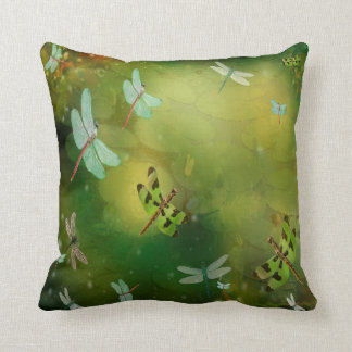 Dragonflies and Water Lillies Artwork Throw Pillow