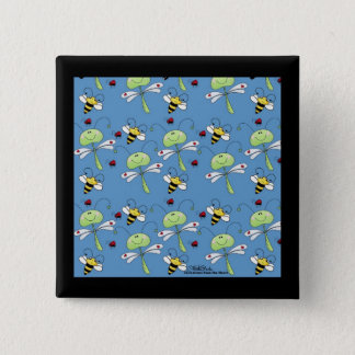 Dragonflies, Bees and Ladybugs Collage 15 Cm Square Badge