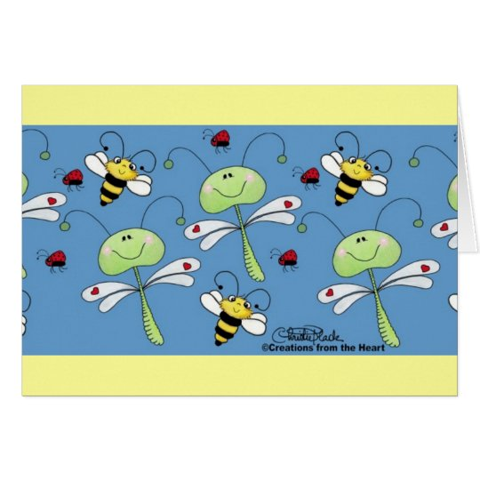 Dragonflies, Bees and Ladybugs Collage Card