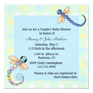 Dragonflies Couple's Baby Shower Invitation