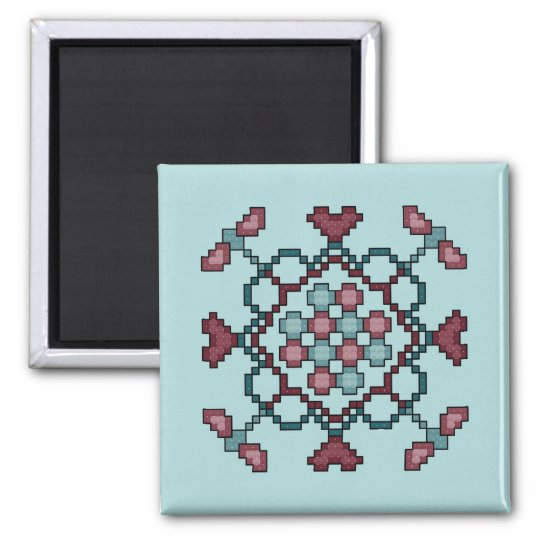 Dragonflies, Hearts and Circles Cross Stitch Patte Square Magnet