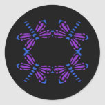 Dragonflies in blue & purple on black round stickers