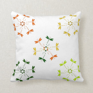Dragonflies in colors and circles throw pillow