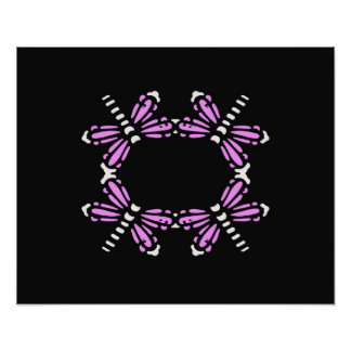 Dragonflies in pink & white on black poster