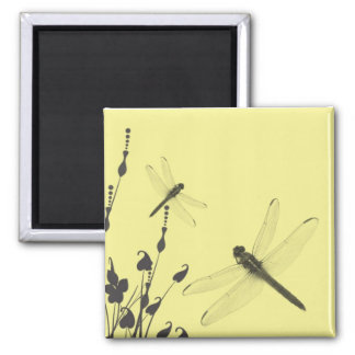 Dragonflies in the Grass Square Magnet