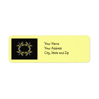 Dragonflies in yellow & white on black & yellow return address label