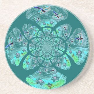 Dragonflies Lily Flowers pattern Coasters