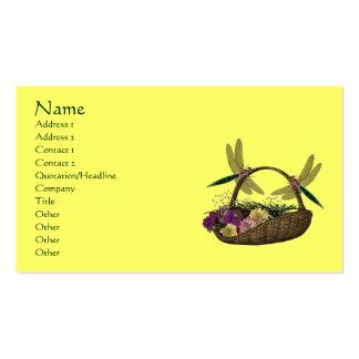Dragonflies On Flower Basket  Business Card