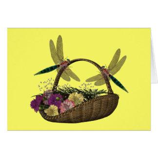 Dragonflies On Flower Basket Card
