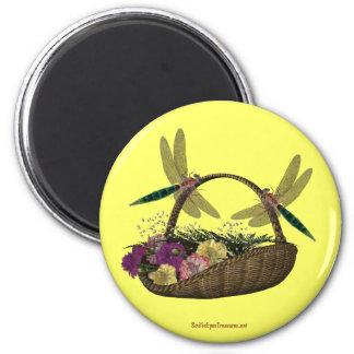 Dragonflies On Flower Basket Nature Magnet