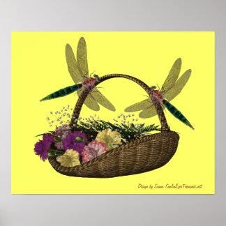Dragonflies On Flower Basket Nature Poster Print