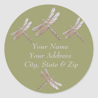 Dragonflies on Green Classic Round Sticker