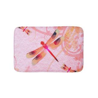 Dragonflies On Pink Bath Mat
