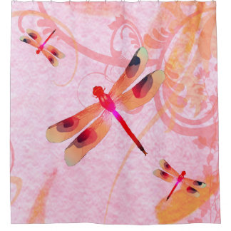Dragonflies On Pink Shower Curtain