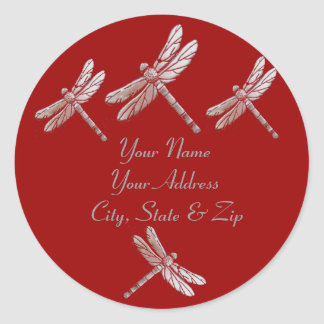 Dragonflies on Red Classic Round Sticker