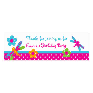 Dragonflies Pink/Blue Birthday Party Favor Tag Pack Of Skinny Business Cards