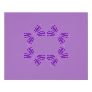 Dragonflies poster in purple & mauve on purple