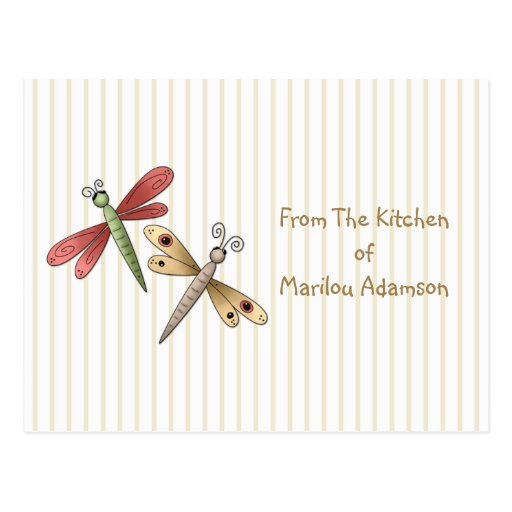 Dragonflies Recipe Cards Postcards