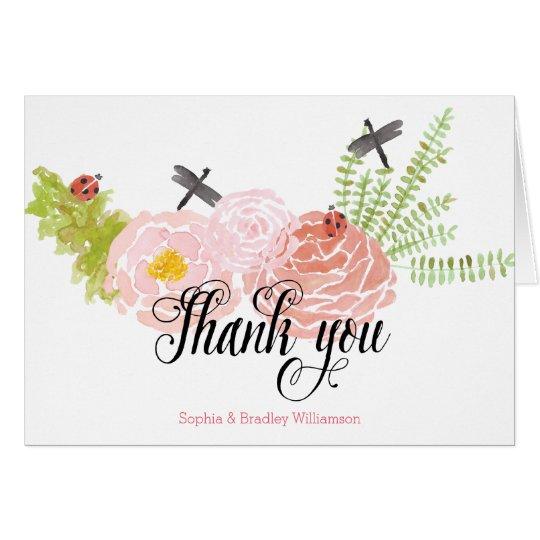 Dragonflies Roses Watercolor Garden Thank you Card