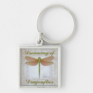 Dragonflies Silver-Colored Square Key Ring