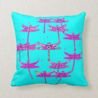 Dragonflies Turquoise Throw Pillow by Sharles
