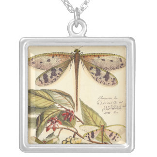 Dragonflies with Leaves and Fruit Silver Plated Necklace