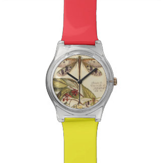 Dragonflies with Leaves and Fruit Wristwatch
