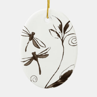 Dragonfly Abstract Ceramic Oval Decoration