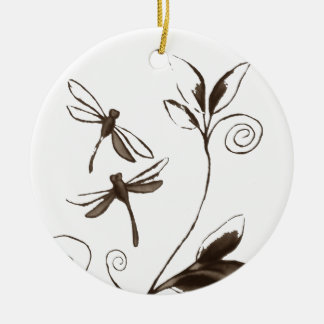 Dragonfly Abstract Round Ceramic Decoration